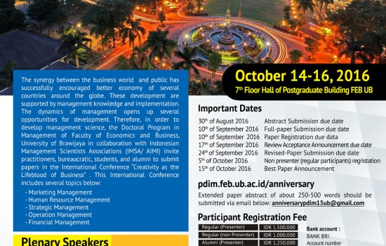 Call for Papers 15th Anniversary Doctoral Program in Management FEB-UB